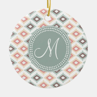Aztec Tribal Pink Pink Monogram Pattern Double-Sided Ceramic Round Christmas Ornament