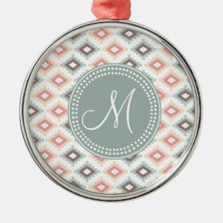Aztec Tribal Pink Pink Monogram Pattern Round Metal Christmas Ornament