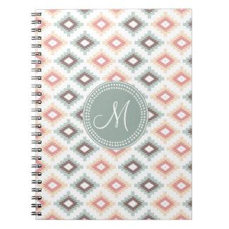 Aztec Tribal Pink Pink Monogram Pattern Spiral Notebook