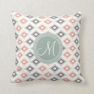 Aztec Tribal Pink Pink Monogram Pattern Throw Pillow