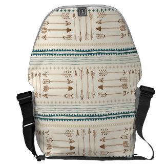 Aztec Tribal Print Arrows Neutral Brown Beige Teal Courier Bag