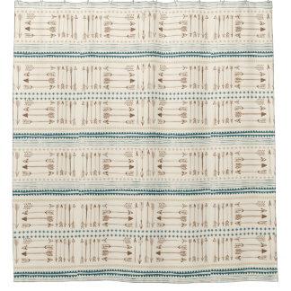 Aztec Tribal Print Arrows Neutral Brown Beige teal Shower Curtain