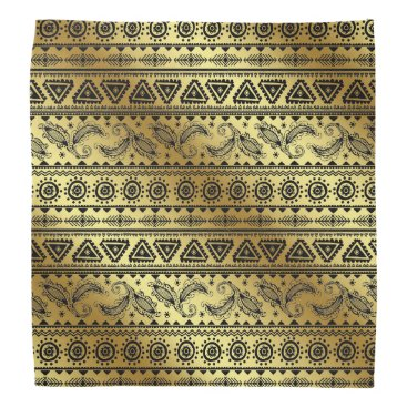 Aztec Themed Aztec Tribal Print Neutral Black & Gold bandana