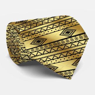 Aztec Tribal Print Neutral Black & Gold tie