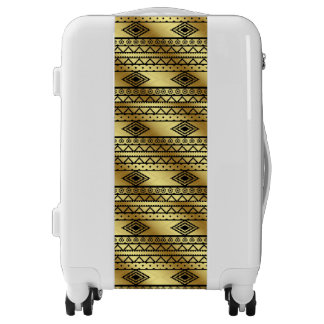 Aztec Tribal Print Neutral Browns Beige Taupe Luggage