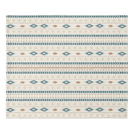 Aztec Tribal Print Neutral Browns Beige Teal Duvet Cover