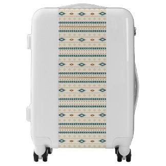 Aztec Tribal Print Neutral Browns Beige Teal Luggage
