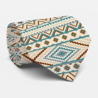 Aztec Tribal Print Neutral Browns Beige Teal Neck Tie