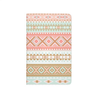 Aztec Tribal Print Pink Mint Green Taupe journal