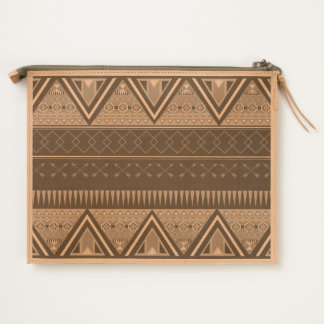 Aztec Tribal triangles stripes Travel Pouch