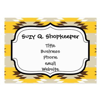 Aztec Tribal Yellow Brown Native American Designs Large Business Card