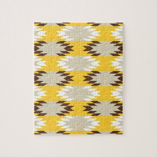 Aztec Tribal Yellow Brown Native American Designs Puzzle ...