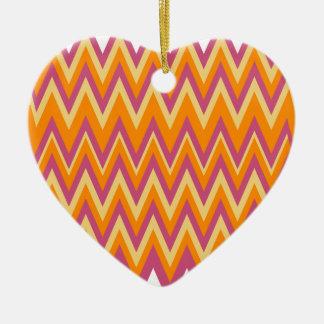 Aztec Tribal ZigZag Double-Sided Heart Ceramic Christmas Ornament