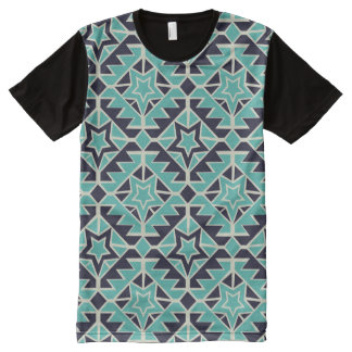 Aztec turquoise and navy All-Over-Print T-Shirt