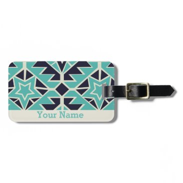 Aztec Themed Aztec turquoise and navy bag tag