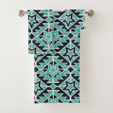 Aztec Themed Aztec turquoise and navy bath towel set