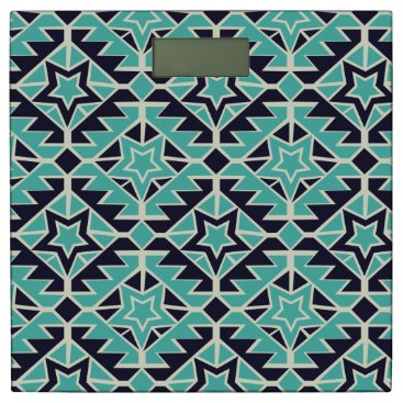 Aztec Themed Aztec turquoise and navy bathroom scale