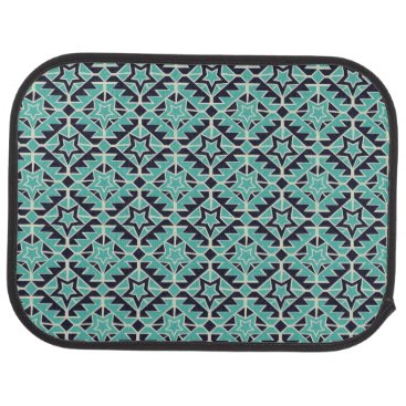 Aztec Themed Aztec turquoise and navy car floor mat