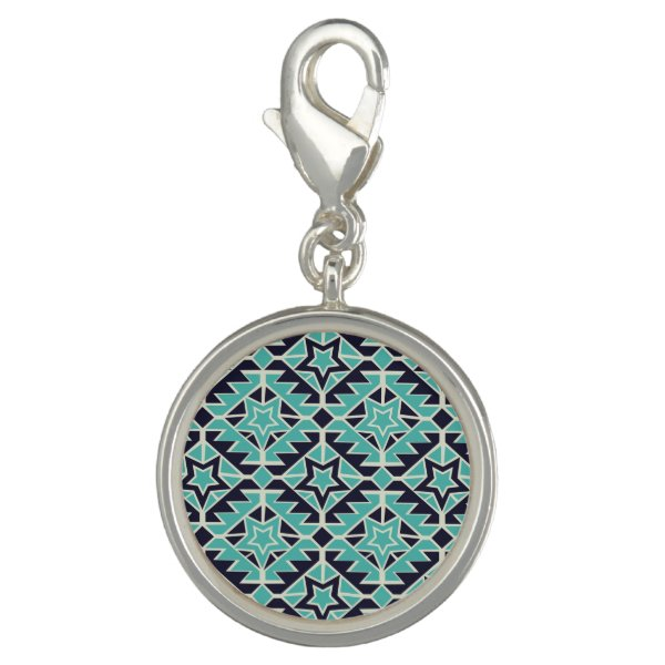 Aztec turquoise and navy charm