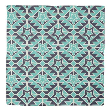 Aztec Themed Aztec turquoise and navy duvet cover