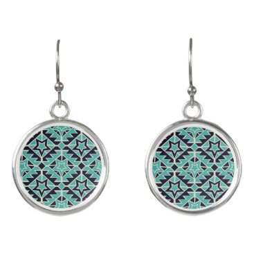 Aztec Themed Aztec turquoise and navy earrings