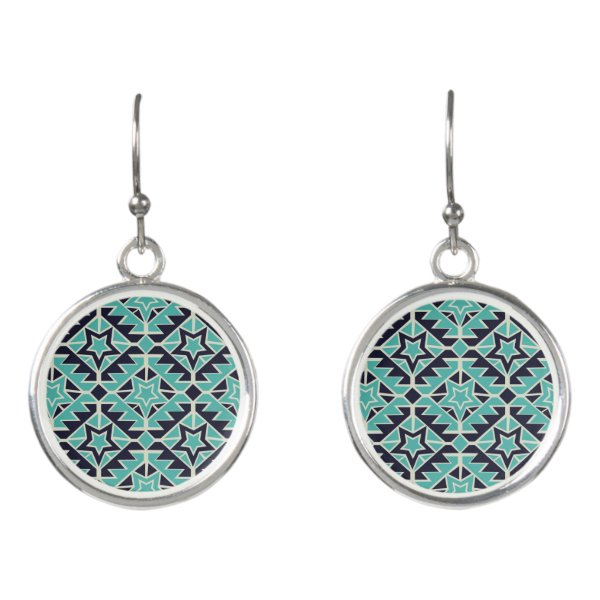 Aztec turquoise and navy earrings