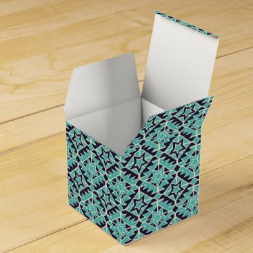 Aztec Themed Aztec turquoise and navy favor box