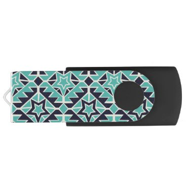 Aztec Themed Aztec turquoise and navy flash drive