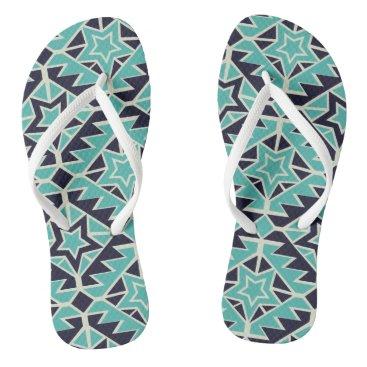 Aztec Themed Aztec turquoise and navy flip flops