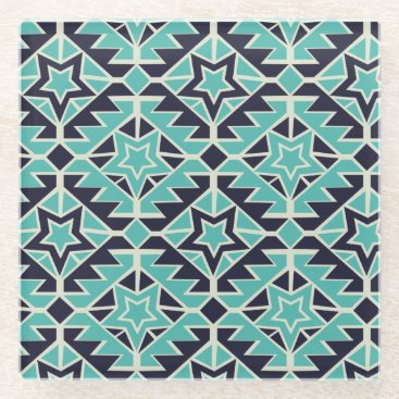 Aztec Themed Aztec turquoise and navy glass coaster