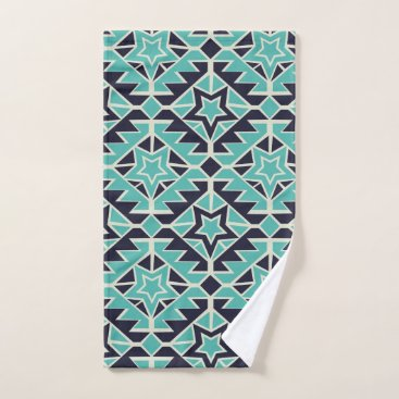 Aztec Themed Aztec turquoise and navy hand towel