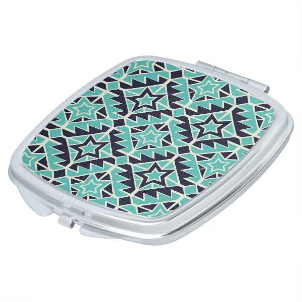 Aztec turquoise and navy makeup mirror