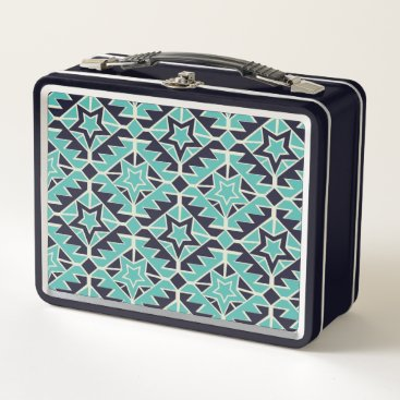 Aztec Themed Aztec turquoise and navy metal lunch box