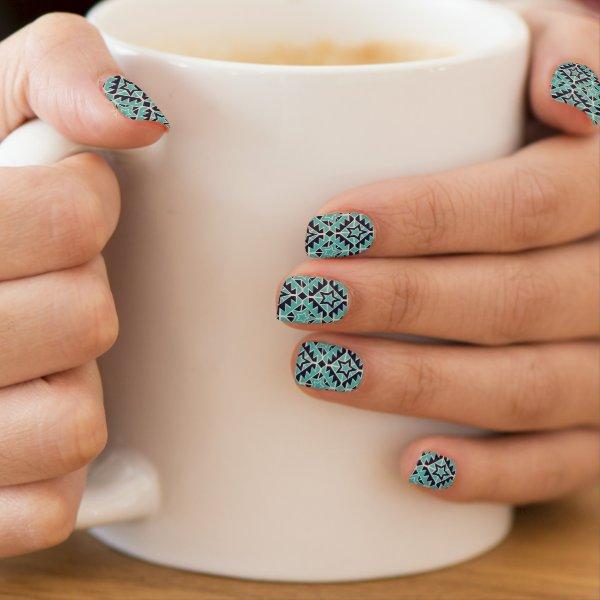 Aztec turquoise and navy minx nail wraps