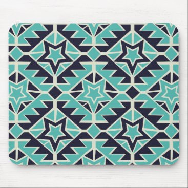 Aztec Themed Aztec turquoise and navy mouse pad