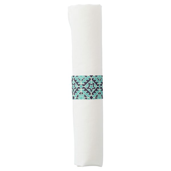 Aztec turquoise and navy napkin band