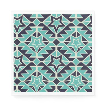 Aztec Themed Aztec turquoise and navy paper napkin