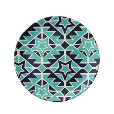 Aztec Themed Aztec turquoise and navy plate