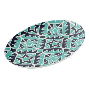 Aztec Themed Aztec turquoise and navy porcelain serving platter