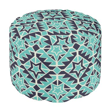 Aztec Themed Aztec turquoise and navy pouf