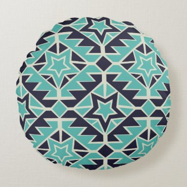 Aztec Themed Aztec turquoise and navy round pillow