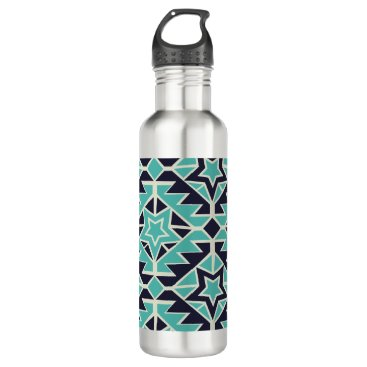 Aztec Themed Aztec turquoise and navy stainless steel water bottle