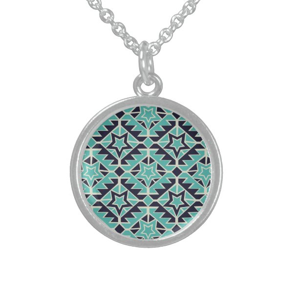 Aztec turquoise and navy sterling silver necklace