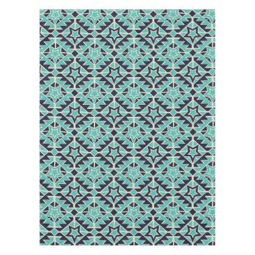 Aztec Themed Aztec turquoise and navy tablecloth