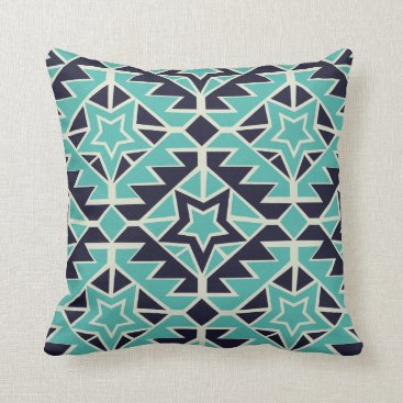 Aztec Themed Aztec turquoise and navy throw pillow