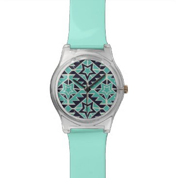 Aztec Themed Aztec turquoise and navy wrist watch
