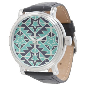 Aztec turquoise and navy wrist watch