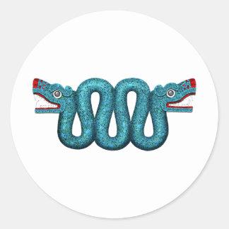 Aztec Turquoise Mosaic Serpent Classic Round Sticker