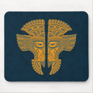 Aztec Twins (blue & yellow) Mouse Pad