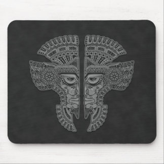Aztec Twins (grey) Mouse Pad